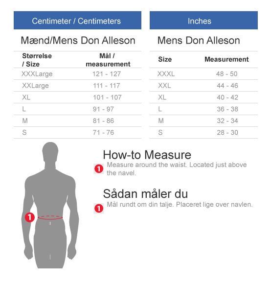 Don Alleson Football pants size guide