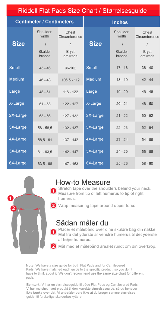 Riddell Shoulderpads Size guide